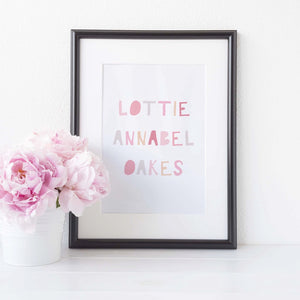Colourful name print