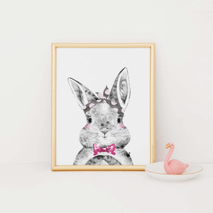 Bunny with bow-tie print