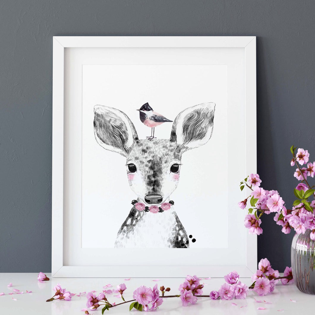 Deer with bird print