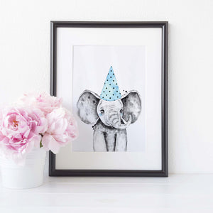 Elephant with spotty hat
