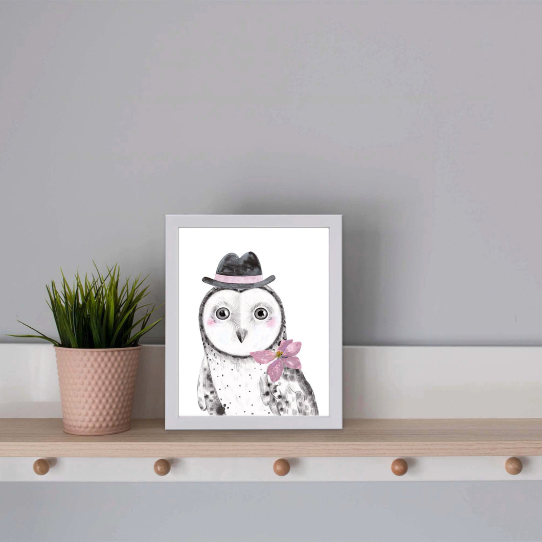 Owl with hat print