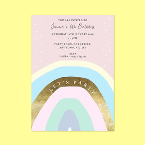 Rainbow foil effect Children's Birthday Invitations