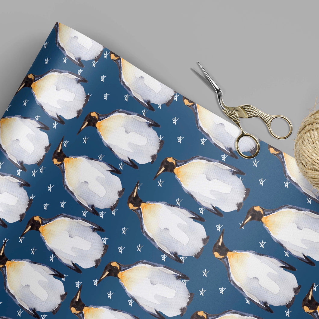 Navy penguin gift wrap