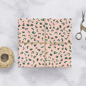 Pink and gold leopard print gift wrap
