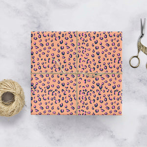 Peach and pink leopard print gift wrap