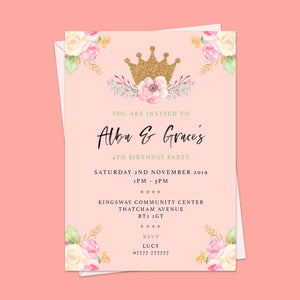 Crown Children's Birthday Invitations