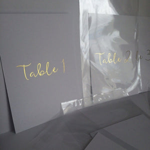 Wedding - foil table numbers