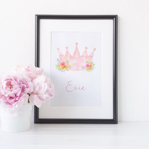 Floral princess crown personalised with a name