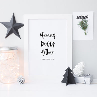 Family names Christmas print