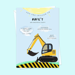 Digger Children's Birthday Invitations