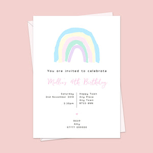 Pastel Rainbow Children's Birthday Invitations