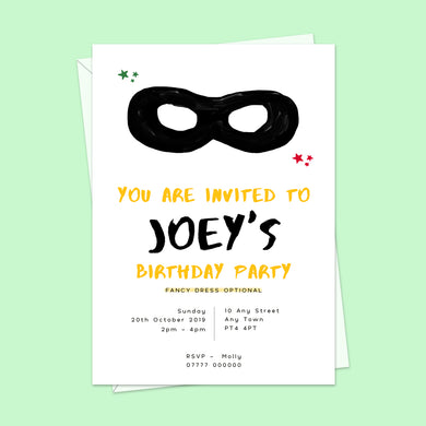 Superhero Children's Birthday Invitations