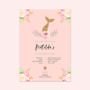 Mermaid Children's Birthday Invitations