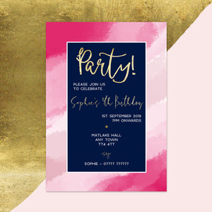Pink Ombre Children's Birthday Invitations