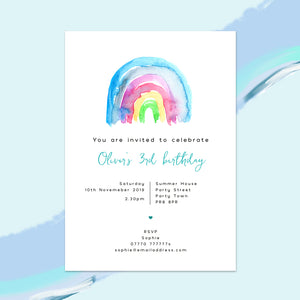Rainbow Children's Birthday Invitations