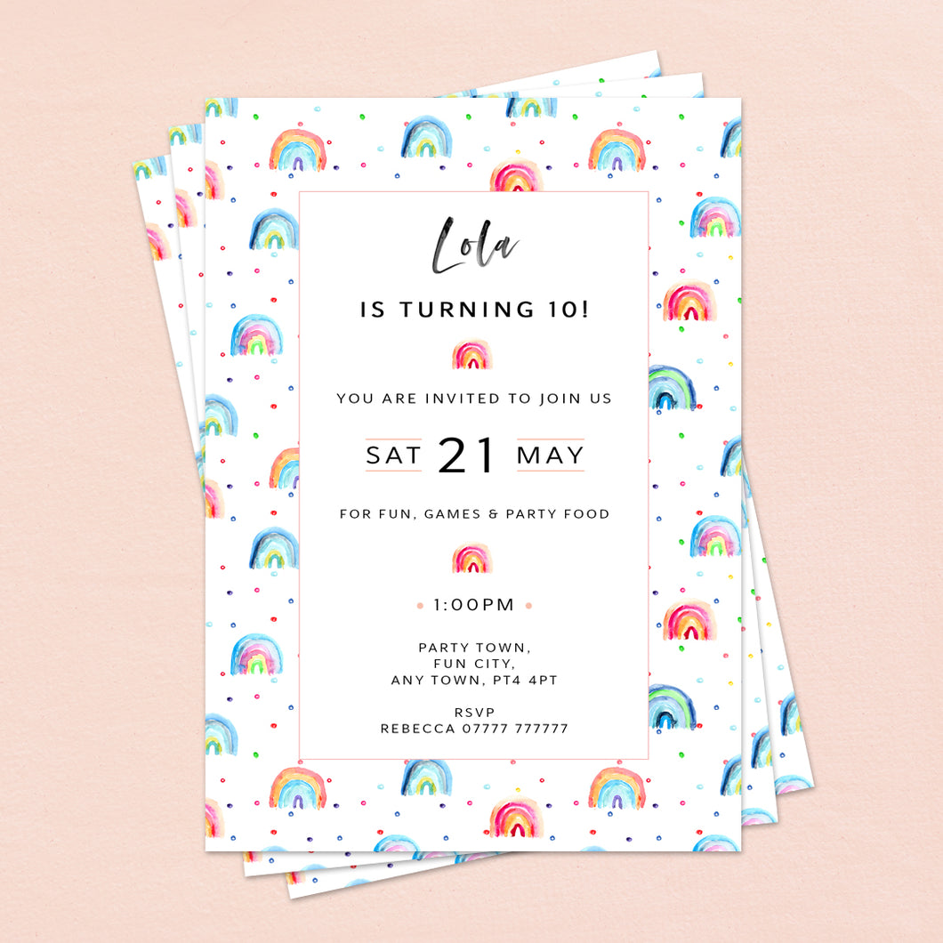 Small rainbows Children's Birthday Invitations