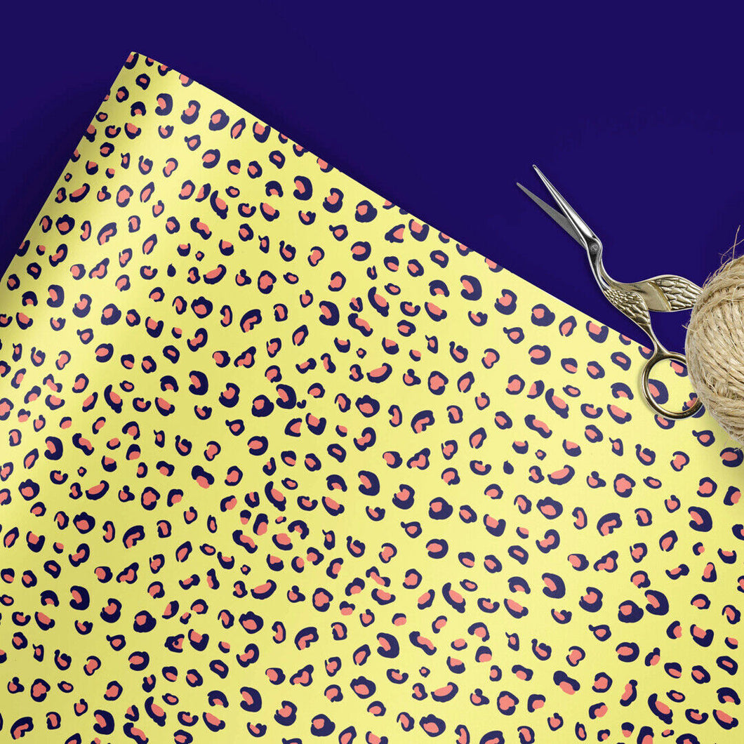 Yellow leopard print gift wrap