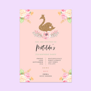 Swan Children's Birthday Invitations