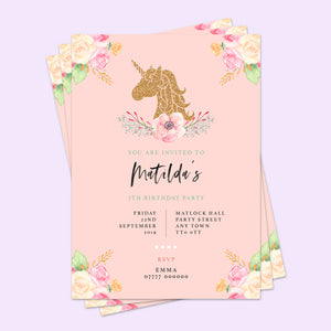 Unicorn Children's Birthday Invitations