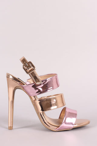 Wild Diva Colorblock Mirror Metallic Slingback Stiletto Heel