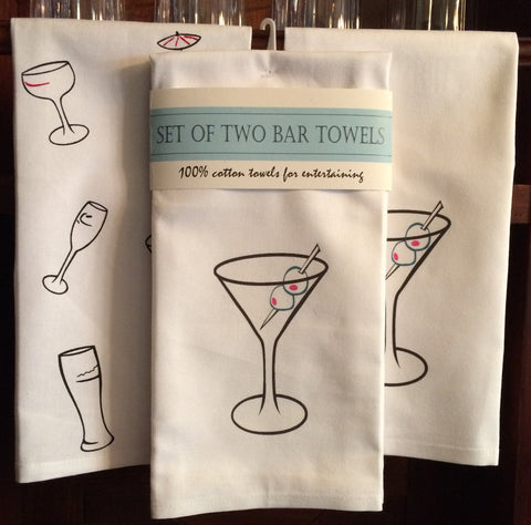 Set of Two Bar Towels - Featuring the Martini