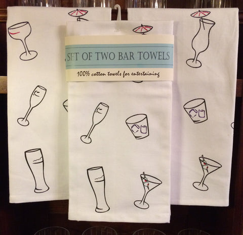 Set of Two Bar Towels - Featuring Mixed Glass Ware