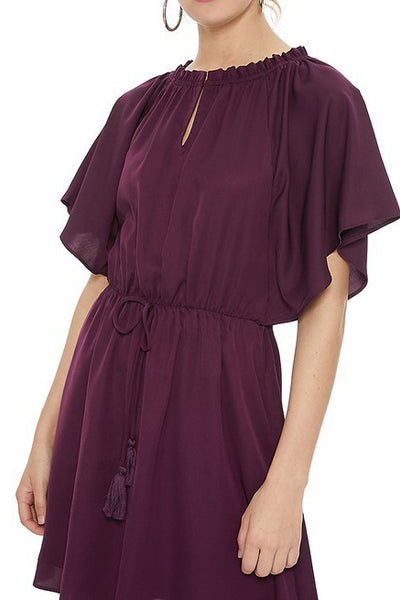 Plum Peasant Dress