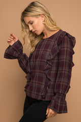 Plum Plaid Blouse