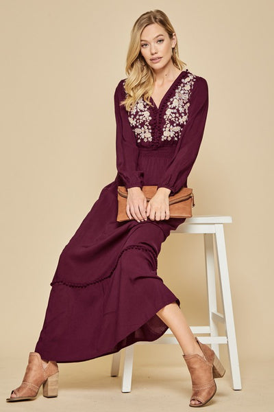 Wine Embroidered Maxi-Dress