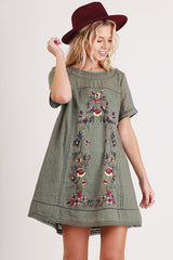 Olive Embroidered Floral Dress