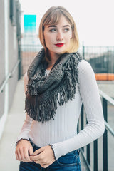 Charcoal Cable Knit Infinity Scarf