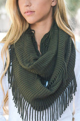 Hunter Frayed Infinity Scarf
