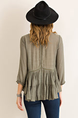 Olive Tiered Ruffle Blouse