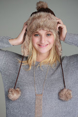 Cable Knit Aviator Pom Hat