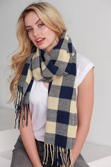 Navy Buffalo Plaid Fringe Scarf