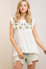 Embroidered Crinkle Peasant Top