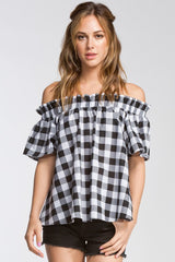 County Picnic B/W Gingham Top