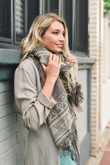 Charcoal Aztec Blanket Scarf