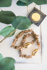 Triangle Wood + Brass Bracelet