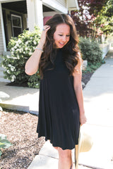 Midnight Mock Neck Dress