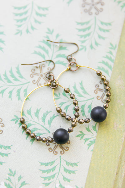 Faceted Stone + Brass Earrings