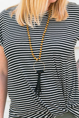 Wood Bead + Leather Tassel Necklace