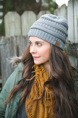 Gray Cable Knit Beanie