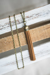 Bronze + Taupe Tassel Necklace