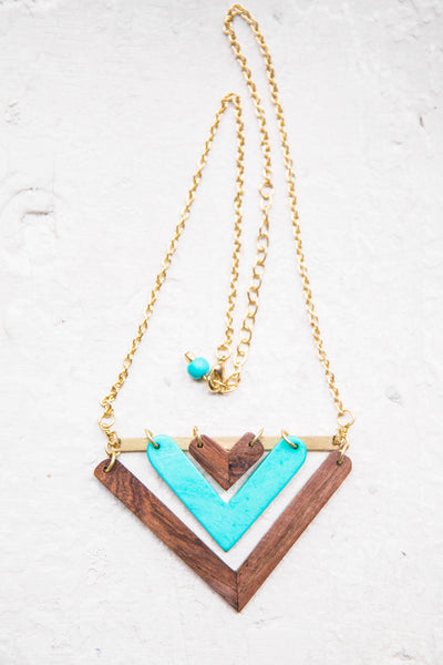 Wood + Turquoise Arrowhead Necklace