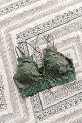 Olive Scalloped Lace Bralette