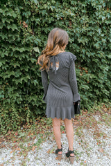 Ruffled Lace Charcoal Top