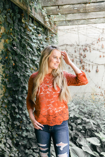 Persimmon Lace Blouse