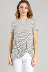 Striped B/W Twist Knot Tee