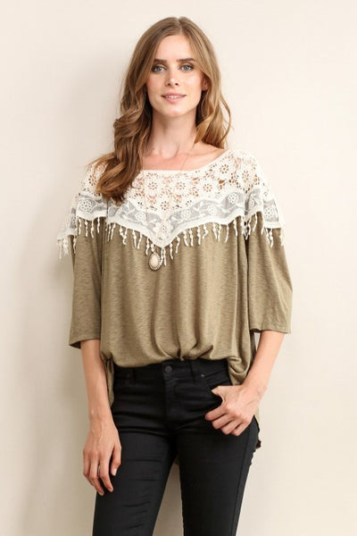 Olive Shoulder Lace Tee